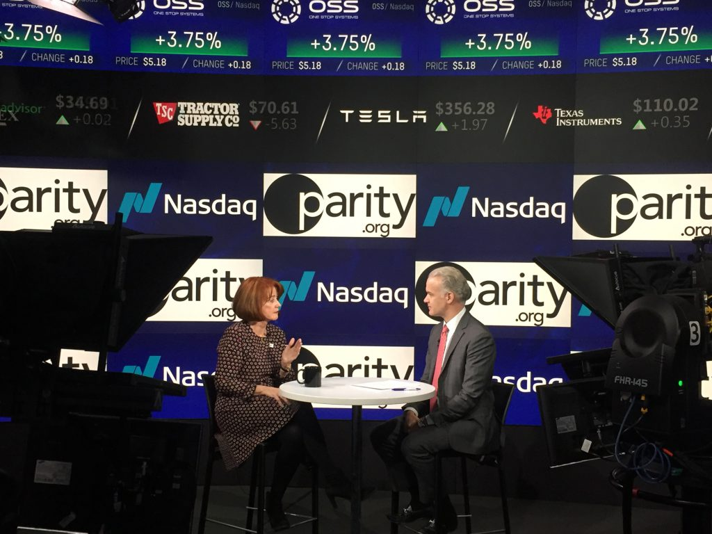Cathrin Stickney, Founder and CEO of Parity.org, during an interview with Nasdaq
